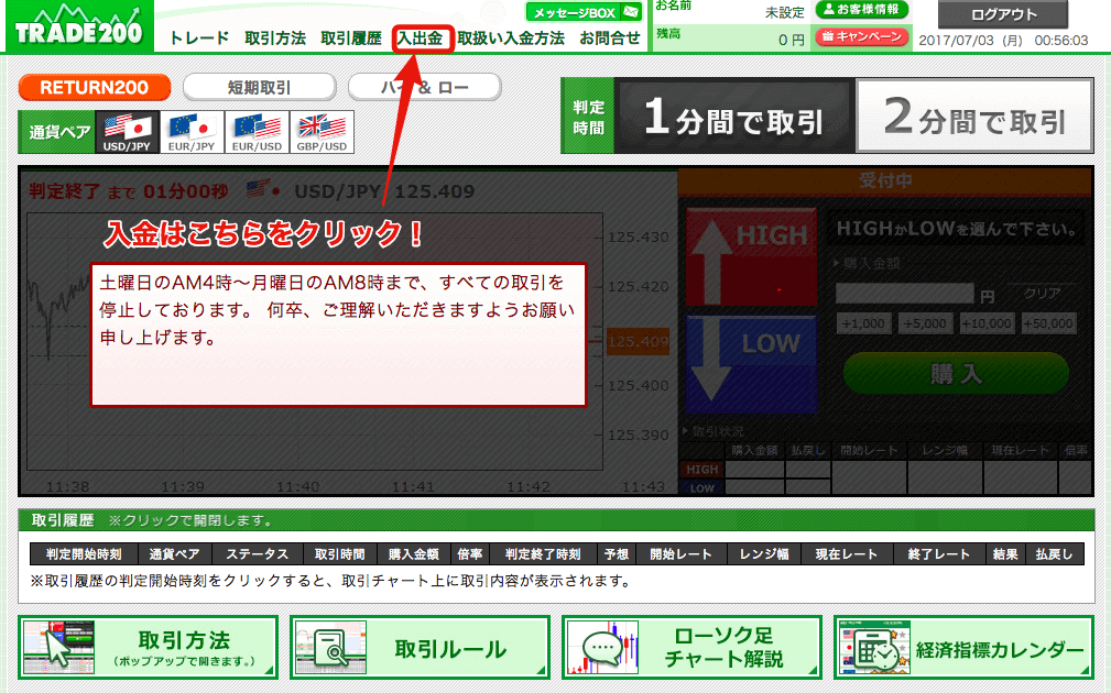 trade200(トレード200)の取引トップ画面→入金選択