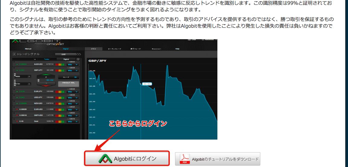 オプションビット→アルゴビットログイン手順