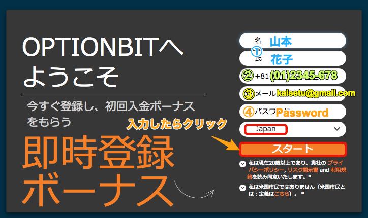 オプションビットの情報登録の入力画面サンプル