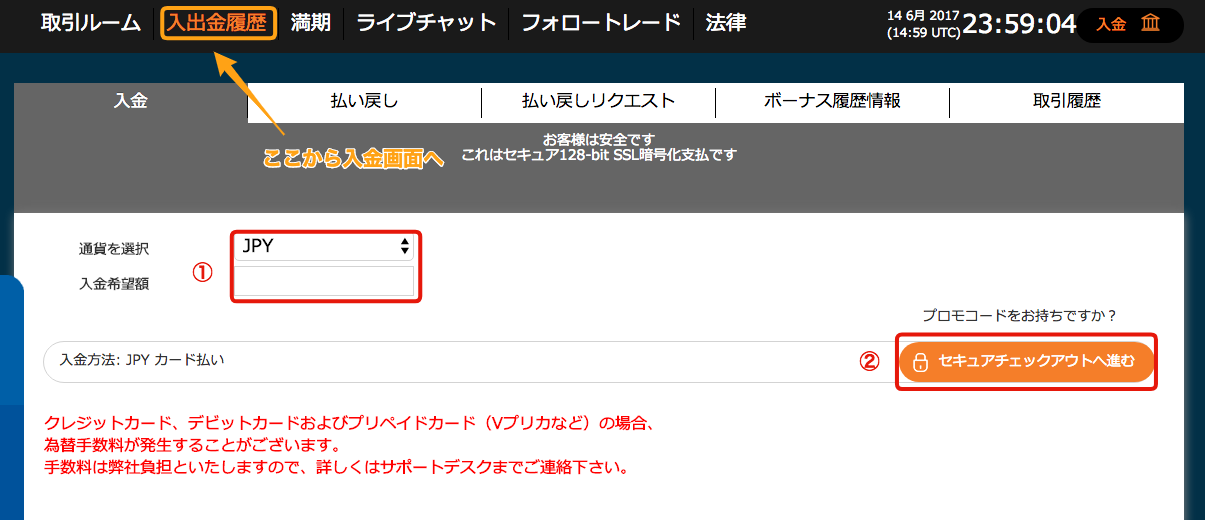 オプションビットのログイン済の入金するための画面