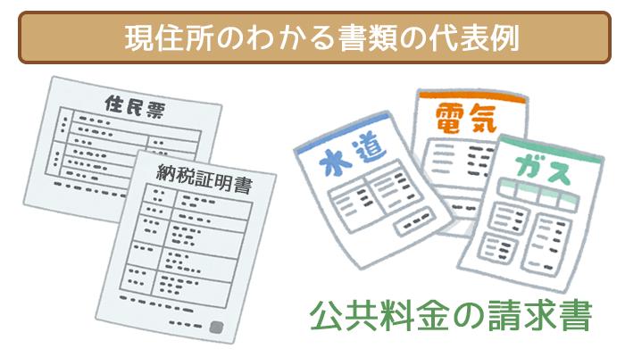 本人確認書類用の現住所のわかる書類代表例
