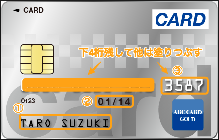 クレジットカード提出時のサンプル表