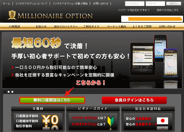 ミリオネアオプションのログイン後画面